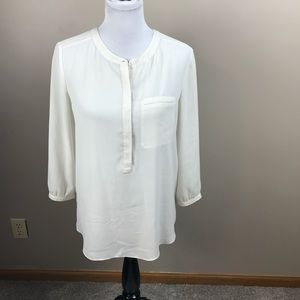 NYDJ Ivory Pintuck Blouse Top